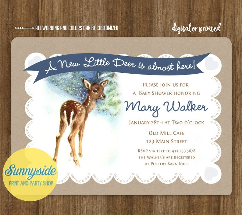 Deer Fawn baby shower invitation for baby boy or baby girl // image 0