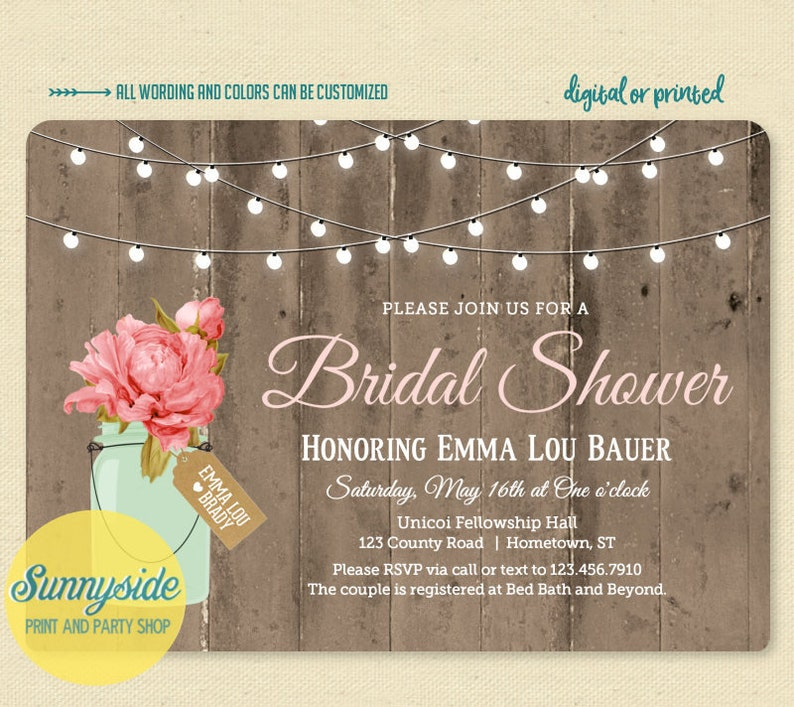 Printable mason jar bridal shower invitation with barnwood and image 0