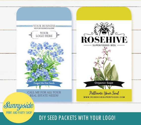 graphic about Printable Seed Packets referred to as Tailor made Emblem PRINTABLE Seed Packet style and design - Do it yourself client