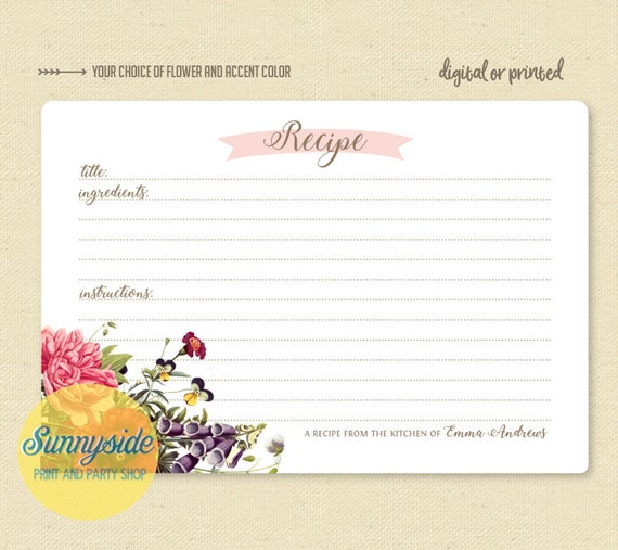 personalized recipe card printable or printed cards you etsy
