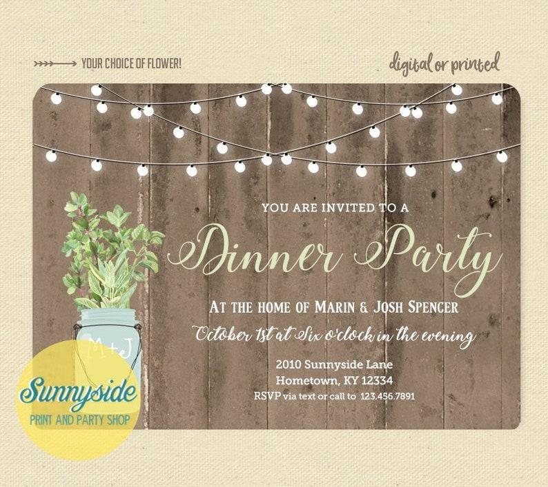 Rustikales Abendessen Party Einladung Cocktail Party Einladen Mit Funkeln Lichter Altholz Kräuter In Mason Jar Druckbare Digitale Datei