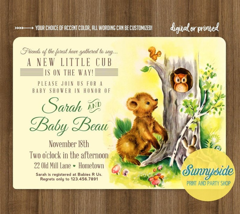 Printable personalized baby shower invitation for forest image 0