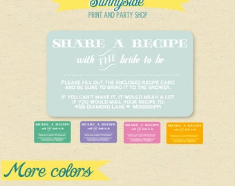 Share A Recipe Enclosure Card for Bridal Shower Invite - Printable - Share / Bring a Recipe for the Bride