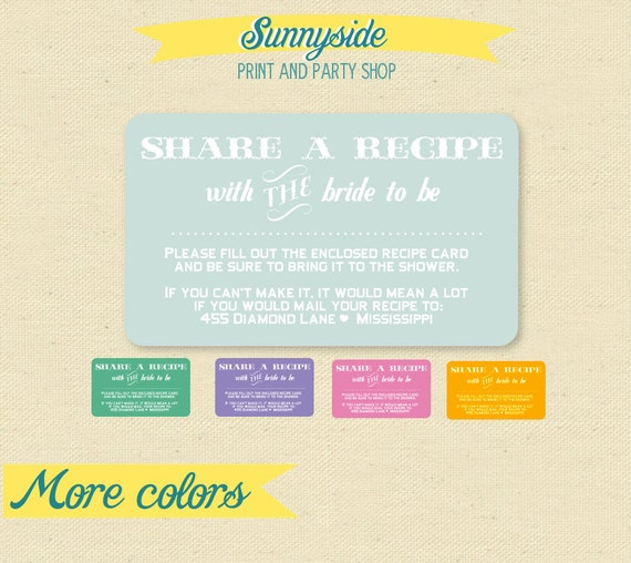 Share a recipe enclosure card for bridal shower invite etsy image 0 filmwisefo