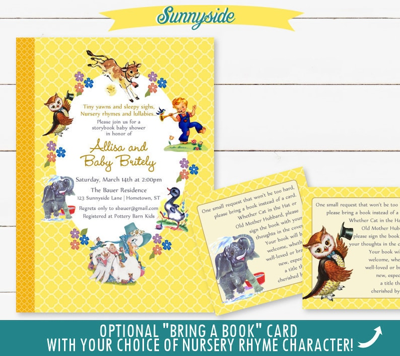 a4bc1b082a4e Baby Shower Nursery Rhyme Storybook Invitation Book Baby