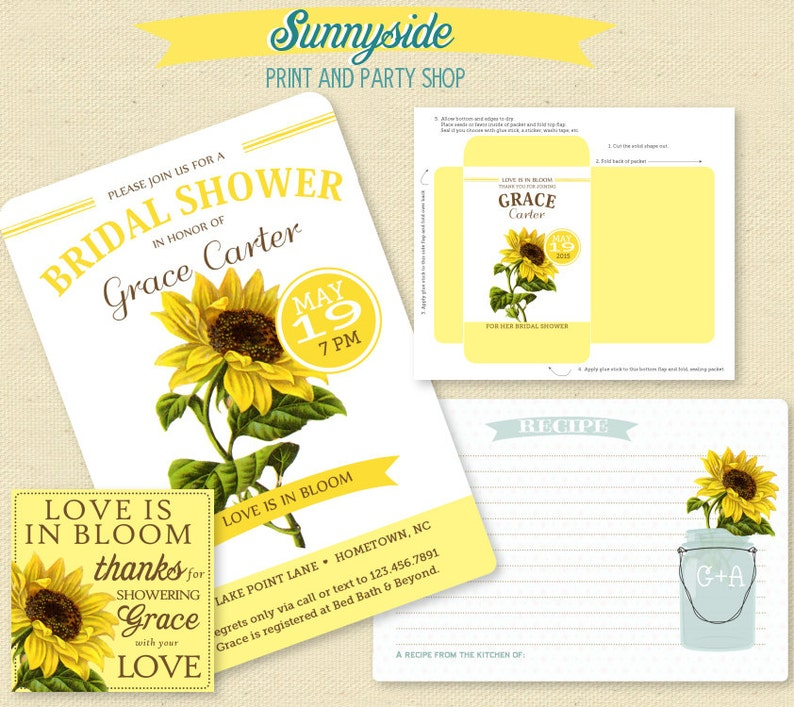 SUNFLOWER Bridal Shower Invitation Seed Packet Favor Tag & image 0