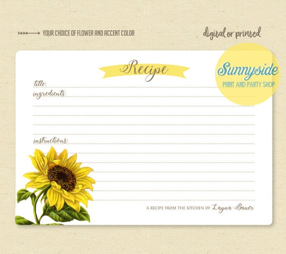 picture relating to Sunflower Printable named Botanical floral recipe card sunflower // printable or released playing cards // custom-made recipe playing cards // bridal shower reward // housewarming present