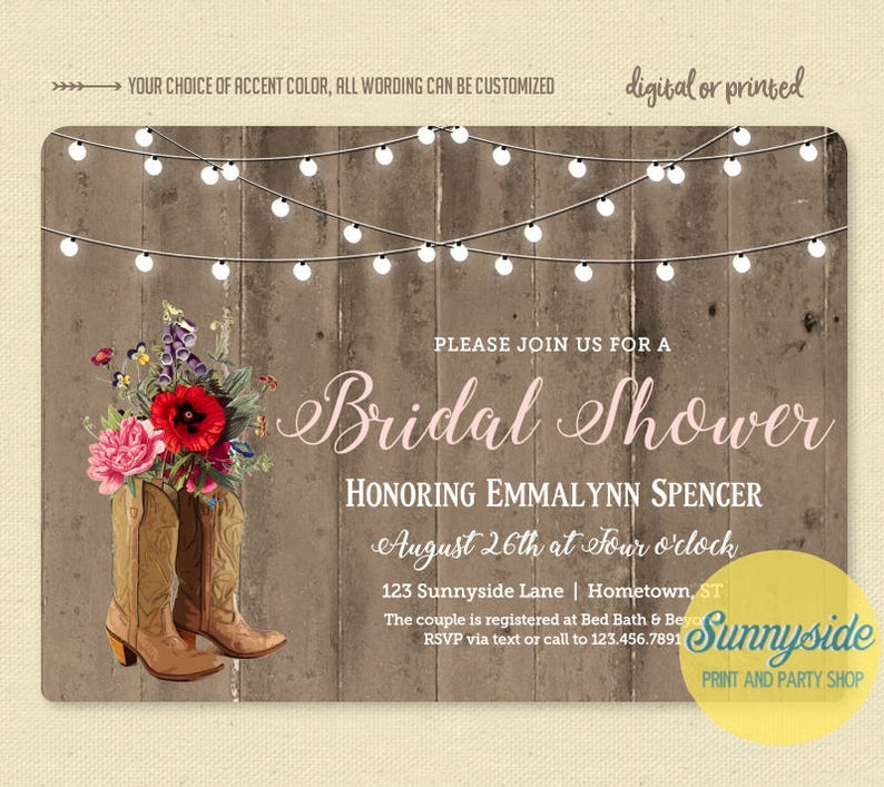 6dff871f163 Country bridal shower invitation with cowgirl boots and wildflowers //  digital printable file or printed invite // rustic western wedding
