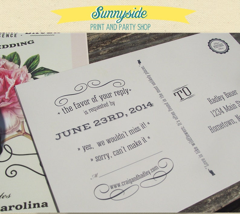 Add a Double Side  Back Side to any Sunnyside Invite or Package