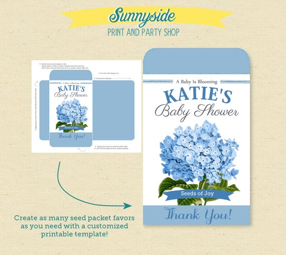 Baby Shower Printable Seed Packet Favor ANY COLOR / FLOWER