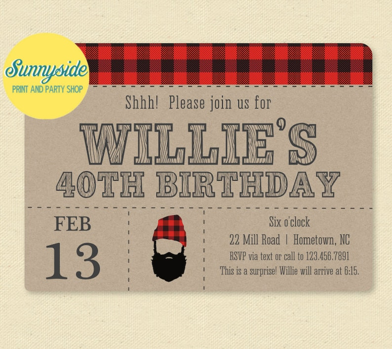 Printable Beard Birthday Invitation  Manly Surprise Hipster image 0