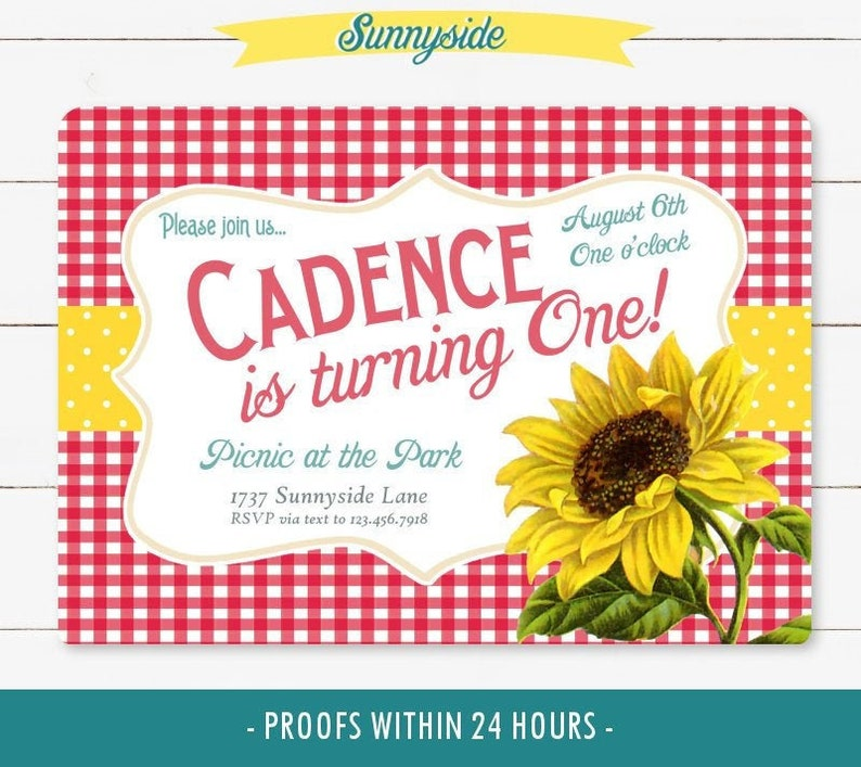 Birthday Picnic Invitation with Sunflower // Gingham Country image 0