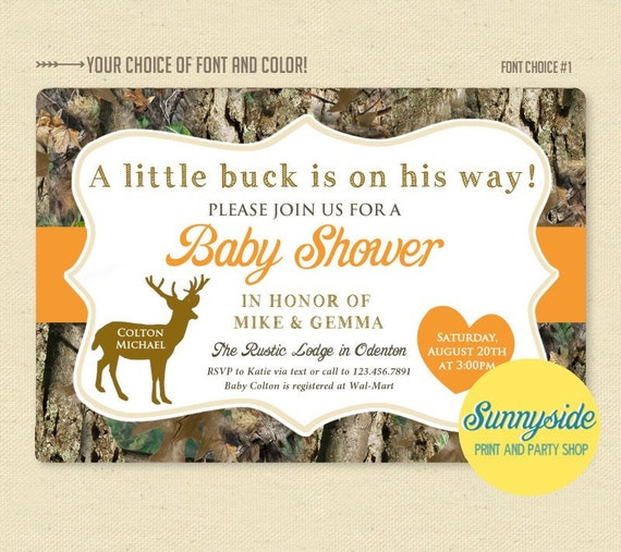 photograph regarding Camo Printable titled Camo buck printable child shower invitation with orange for