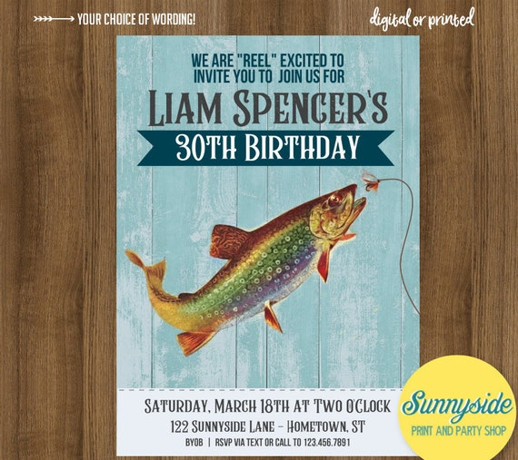 Fishing Birthday Party Invitation for adult, men's reel in