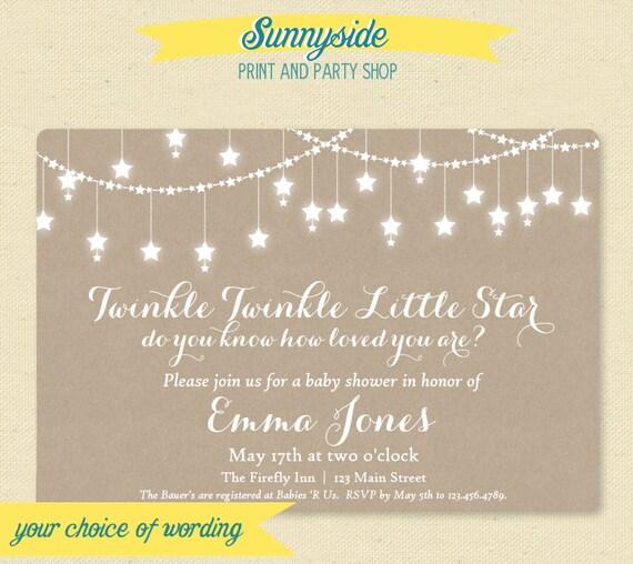 Printable Twinkle Twinkle Baby Shower Invitation Gender Etsy