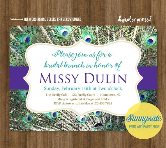 ce974cfc153 Peacock bridal shower invitations    printable or printed