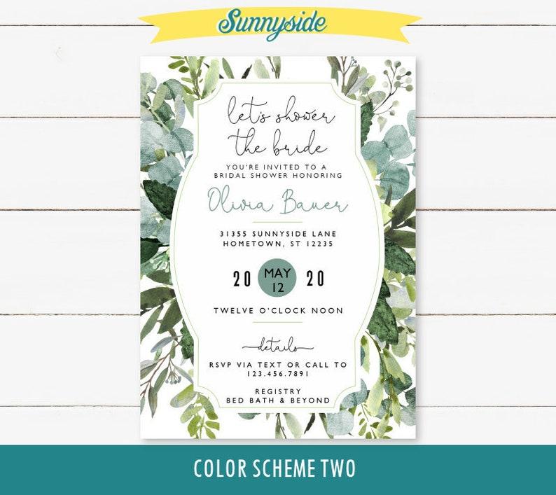 Greenery Bridal Shower Invitation printable invite with Color Scheme 2