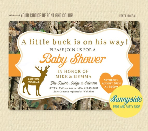 Deer hunter camo camouflage baby shower invitation printable il570xn filmwisefo