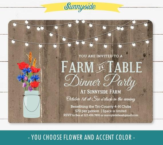 Farm To Table Dinner Invitation, Printable Rustic Dinner