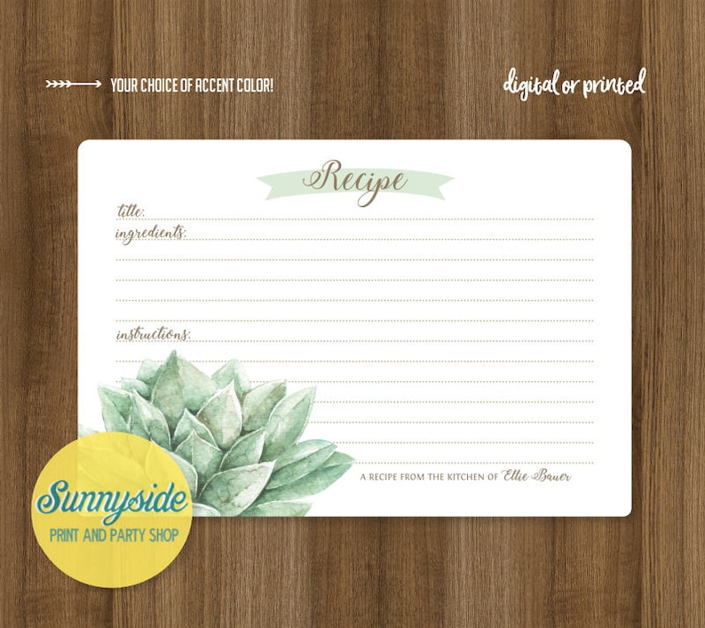 Succulent recipe card // printable or printed recipe card 3x5 image 0