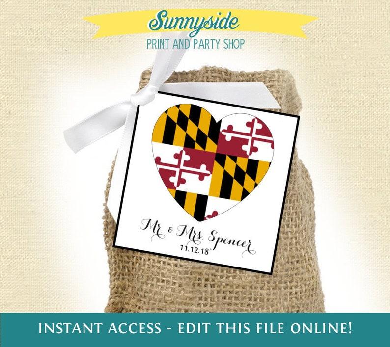 Maryland flag printable square STATE favor tag for MD wedding image 0