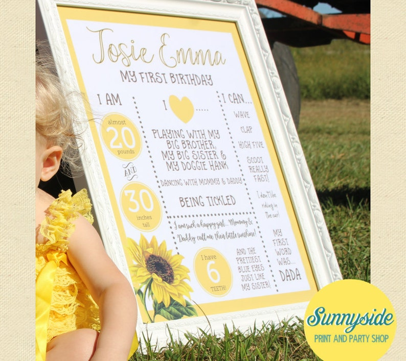 1st Birthday Poster Sunflower Printable 16x20 First Birthday image 0