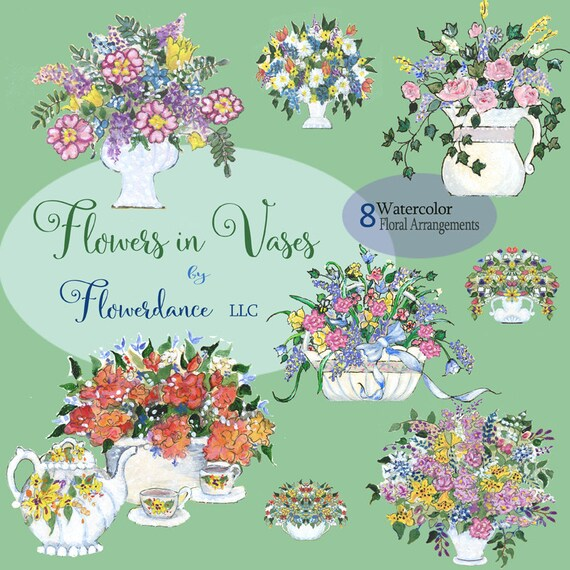Flowers In Vases Clipart Floral Arrangements Posy Pitcher Etsy