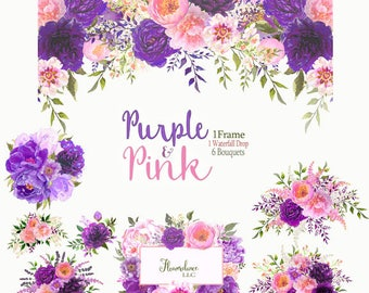 Purple and pink peony clipart, peony flower clipart, watercolor clipart, pink peonies clipart, drop arrangement clipart, pink rose clipart