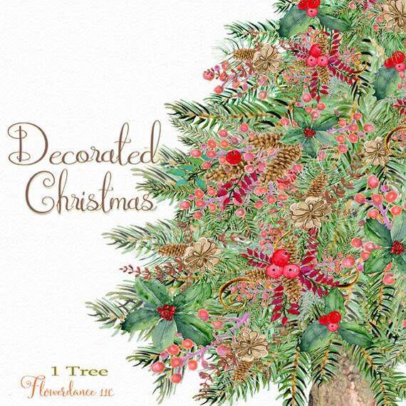 Weihnachtsbaum Clipart Rustikale Weihnachtsbaum Aquarell Etsy