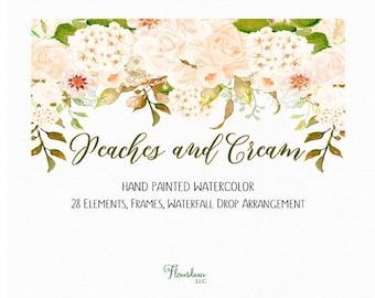 Cream hydrangea clipart wedding watercolor drop arrangement peach floral clip art cream peony frames elements peonies flower peach roses