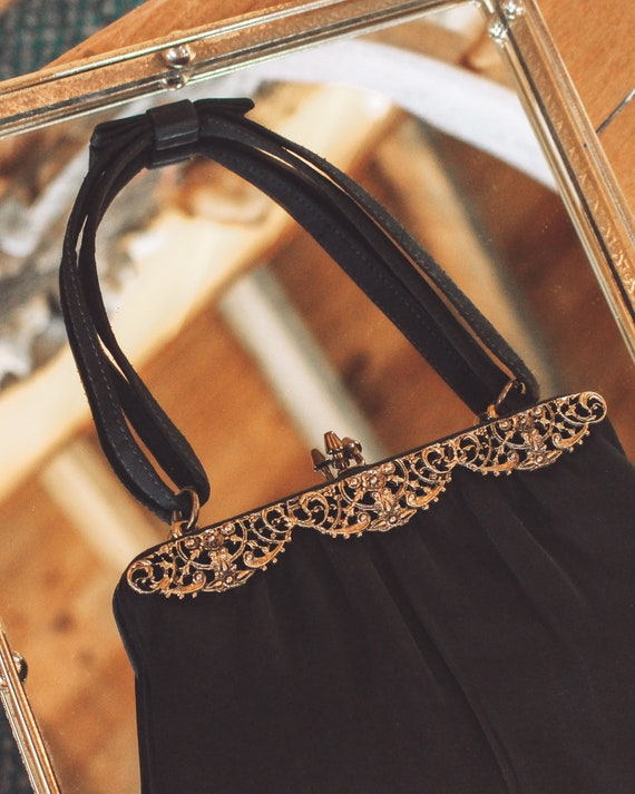 Vintage 1950s purse, black purse, vintage evening