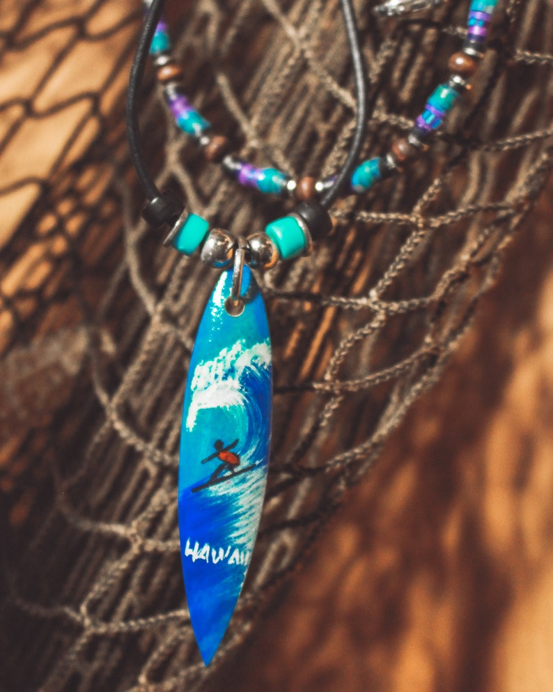 Vintage 90s Surfer Necklace 90s Jewelry Surfboard Necklace Beaded Surfer Necklace Hawaii Necklace
