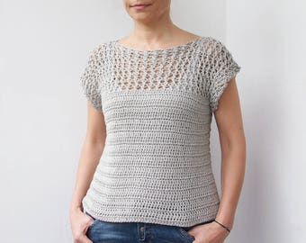 Crochet Pattern Silver drop top, women sweater summer, pullover, woman beach cover up, winter clothing DIY photo tutorial, Instant download