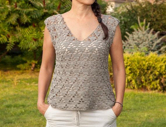 Crochet Pattern Women Sweater V Neck Top Tunic Pullover Etsy