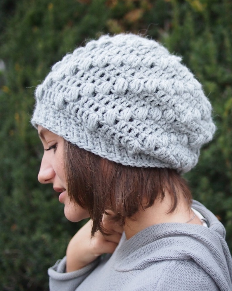a2d6926dc Crochet pattern hat spiral chunky crochet hat slouchy bobble puff popcorn  hat woman hat beanie beret DIY tutorial, Instant download