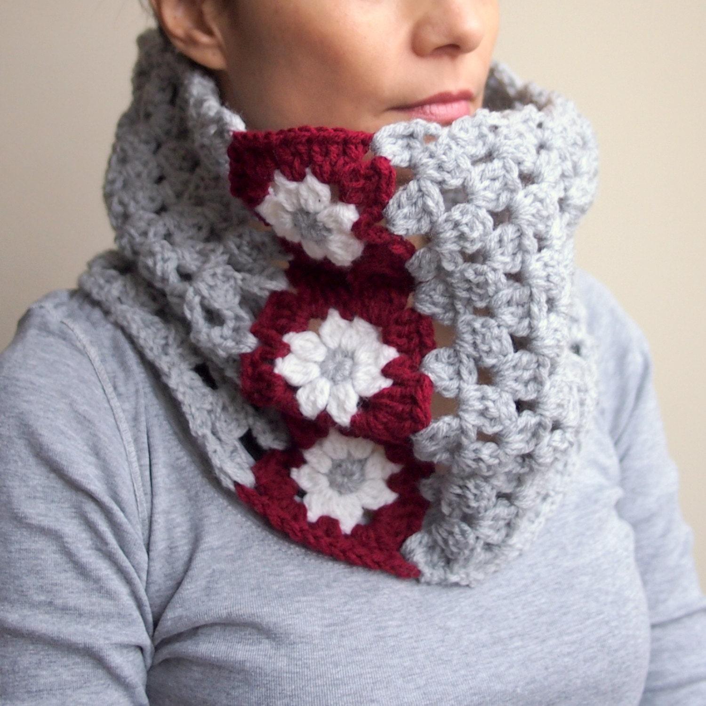 Crochet Pattern Woman Cowl Women Neckwarmer Flower Granny Etsy