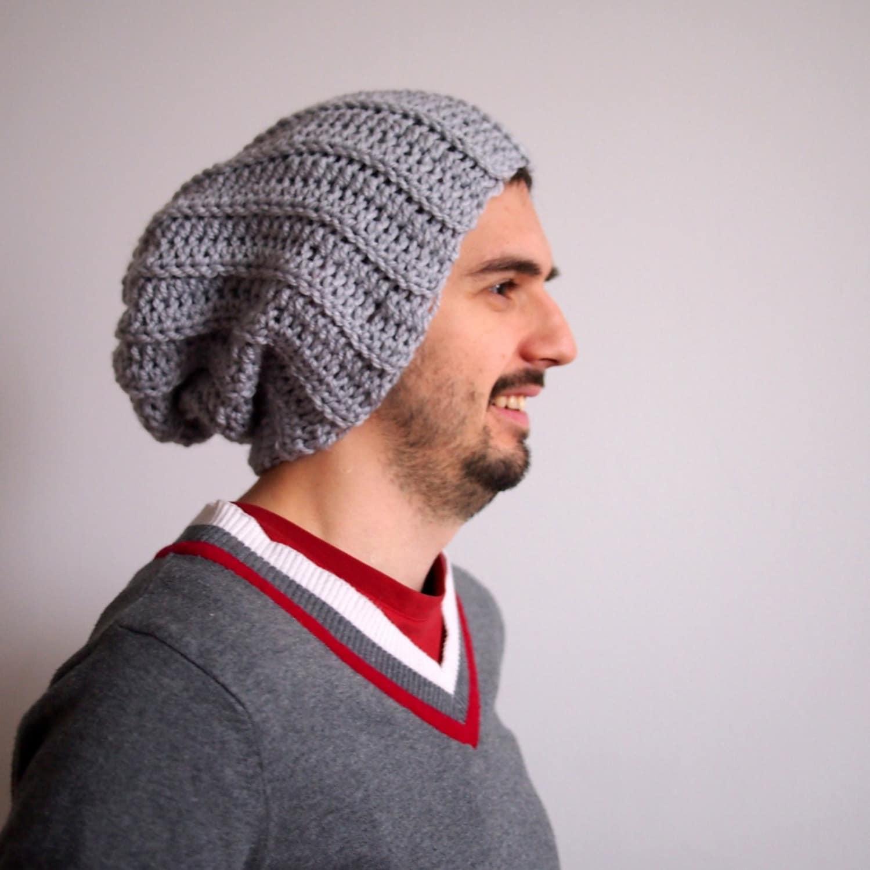 Crochet Pattern Chunky Slouchy Hat Knit Look Crochet Pom Pom Etsy