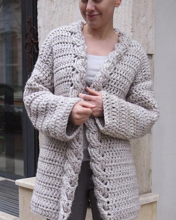 Crochet Pattern Cable Women Cardigan Bulky Coat Very Etsy