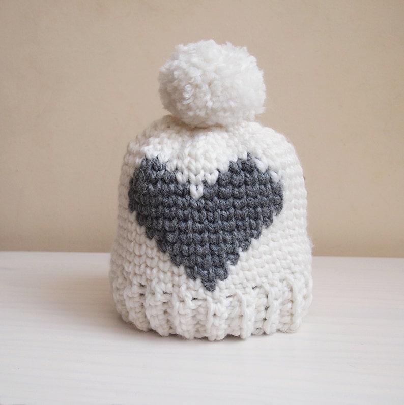 d3deedf1e3f Crochet pattern Heart bulky hat fair isle hat women pom pom