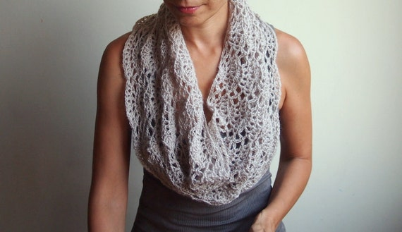 Crochet Pattern Lace Loop Scarf Women Lace Cowl Woman Etsy