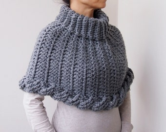 Crochet PATTERN, cable braided poncho, bulky cape neckwarmer, loop scarf,  woman pullover, cape, clothing photo tutorial Instant download