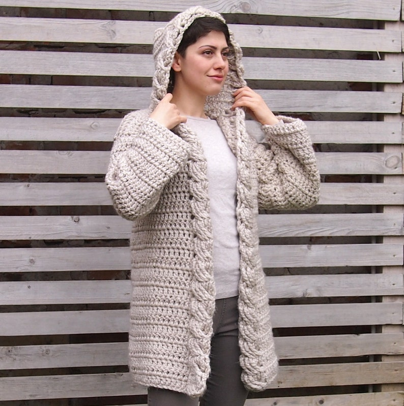 b3f652cd3a52b6 Crochet Pattern hooded cable women sweater braided cardigan
