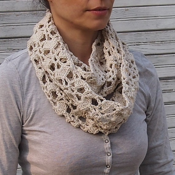 Infinity Scarf Crochet Pattern Woman Circle Scarf Lace Loop Etsy