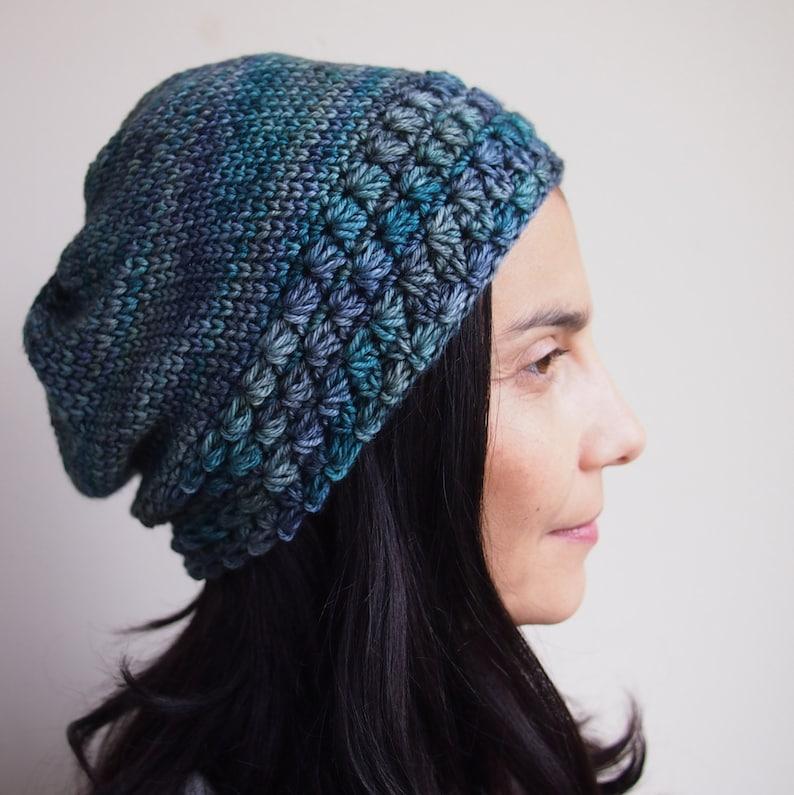 8e2174ea640 Crochet pattern knit look slouch hat woman star stitch hat