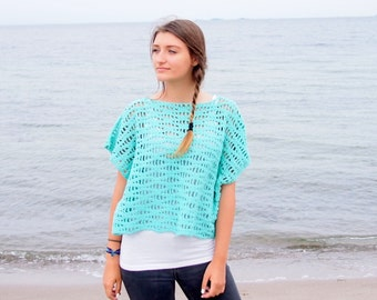 Crochet Pattern Flow sweater, pullover waves women tee top woman beach cover up kimono sleeve, clothing DIY photo tutorial, Instant download