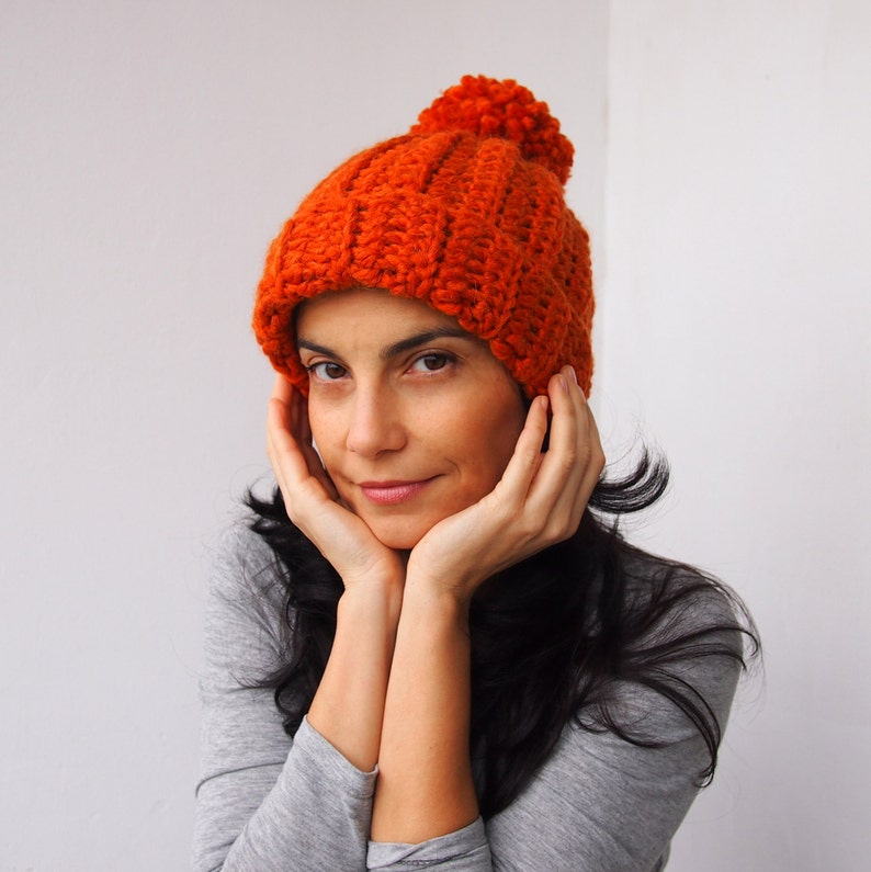 d83f216a7a3 CROCHET PATTERN knit look Olympic beanie woman hat with pom