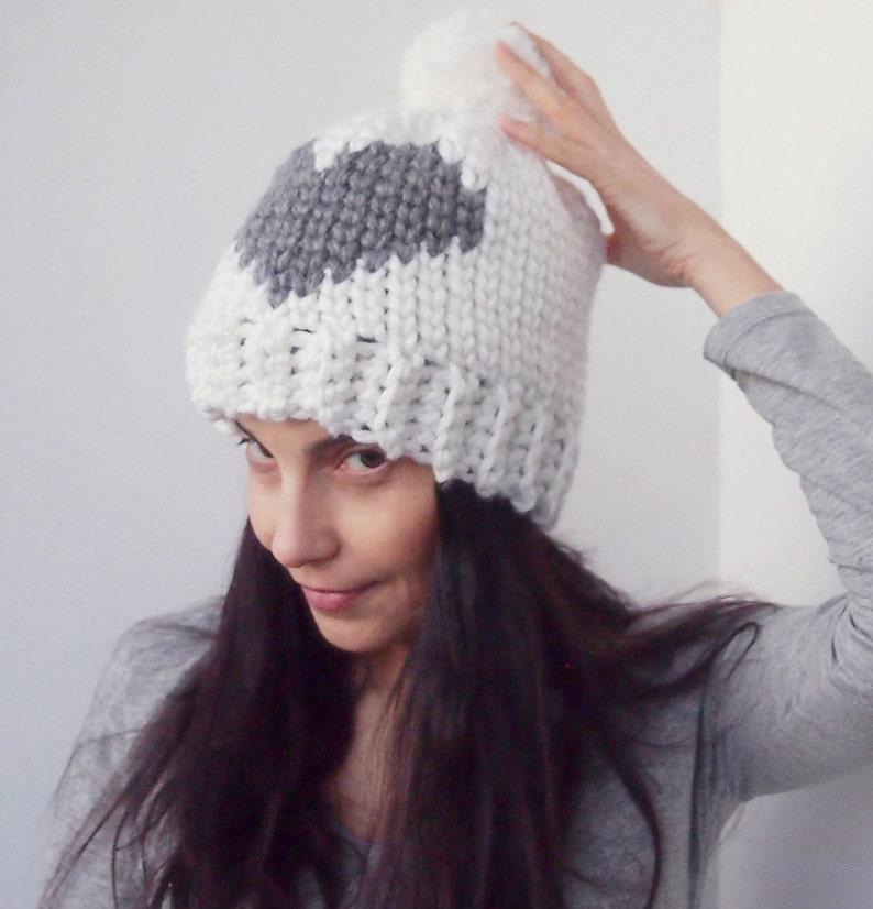 846efab6f30 Crochet pattern Heart knit look hat fair isle hat women pom