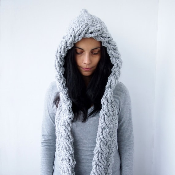 Crochet Pattern Hooded Scarf Cowl Cable Pixie Hood Bulky Etsy