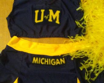 Crop top cheer set sorority queen U of M university of michigan halloween costume cheerleading skirt set stripper exotic dancer pom pons & Etsy :: Your place to buy and sell all things handmade