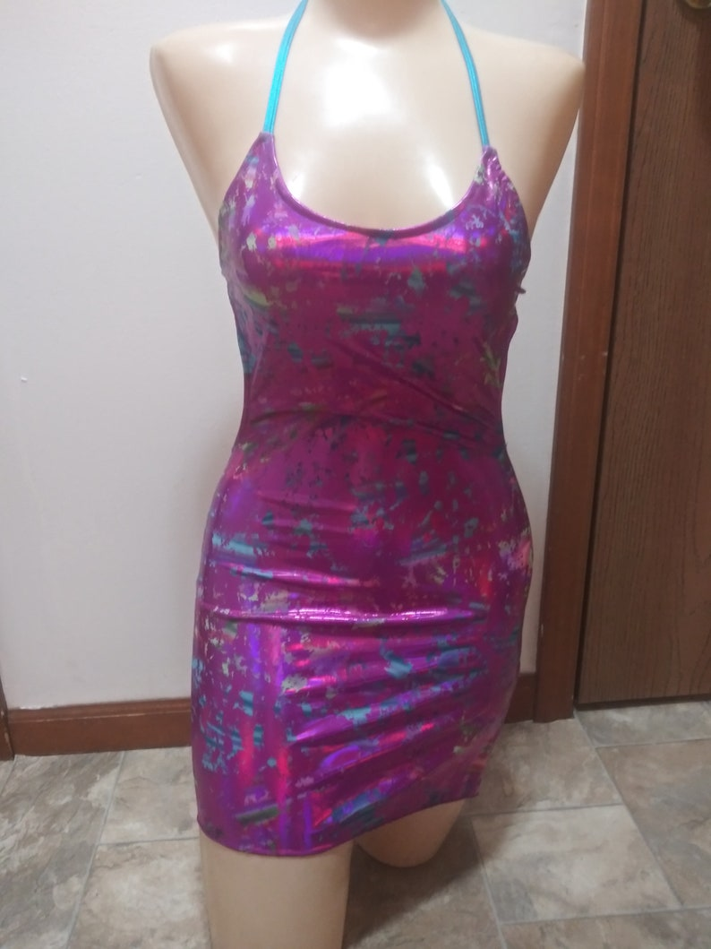 STRAPPY back  with one side slit cracked ice spatkle  Mini dress custom.made dancewear  stripperwear clubwear exotic dancer  night life